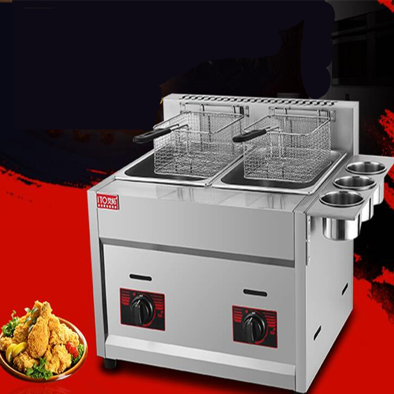 commerial use double tank with 3 buckets gas fryer ,stainless steel  gas deep fryer, frying oven,french fries machine free shipcommerial use double tank with 3 buckets gas fryer ,stainless steel  gas deep fryer, frying oven,french fries machine free ship