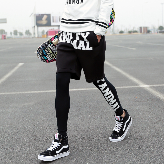15c56648 Men's Space cotton spring legging male black faux two piece hiphop tights  pants trousers stage singer costumes