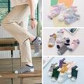 Calcetines del barco niñas calcetines de algodón zapatillas calcetín zapatillas 2017 de primavera y verano fresco mujeres preppy style striped jacquard deslizadores del calcetín