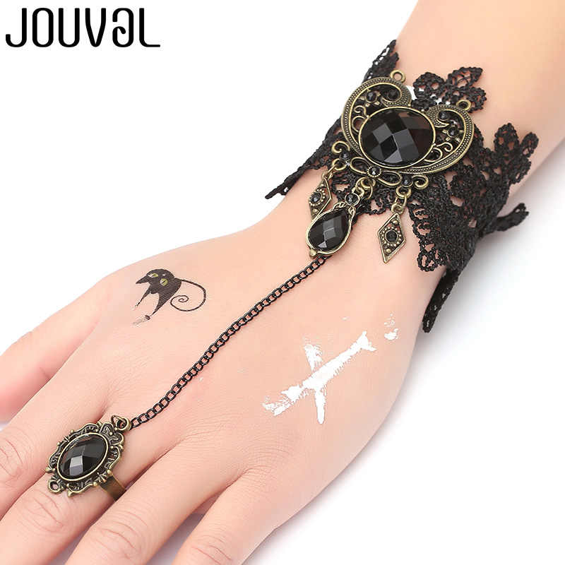 JOUVAL Gothic Bracelet Black Lace Finger Hand Chain Harness Women Bracelet Metal Crystal Charm Steampunk Lady Vintage Jewelry