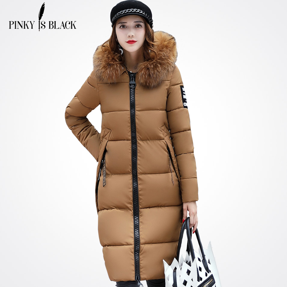 Pinky Is Black 2018 New Fashion Winter Jacket Women Candy Color Large Fur Collar Female Epaulet Winter Coat For Women Outwear