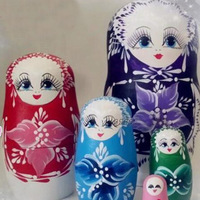 6 Colors 5 Layer Hand Painted Russian Wood Dolls Update High Quality Dry Basswood Matryoshka Doll