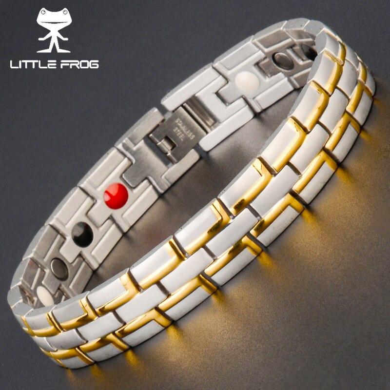 KLEINER FROSCH Drop Schiff Heilende Magnetische Armband Mann/Frau 316L Edelstahl Germanium Gold Armbänder Armreifen Trendy Schmuck