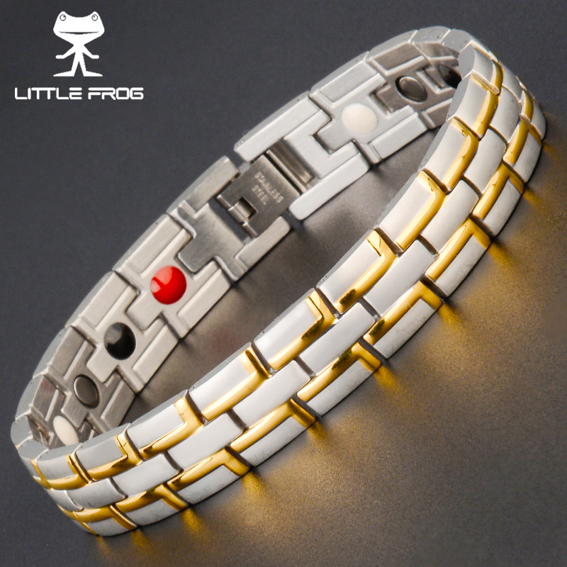 LITTLE FROG Drop Ship Healing Magnetic Bracelet MAn/Woman 316L Stainless Steel Germanium Gold Bracelets Bangles Trendy Jewelry