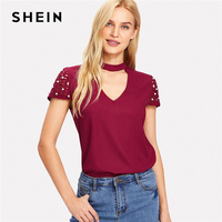 SHEIN Pearl Detail Cut Out Sleeve Choker Neck Top Summer Women V Neck Cap Sleeve Blouse