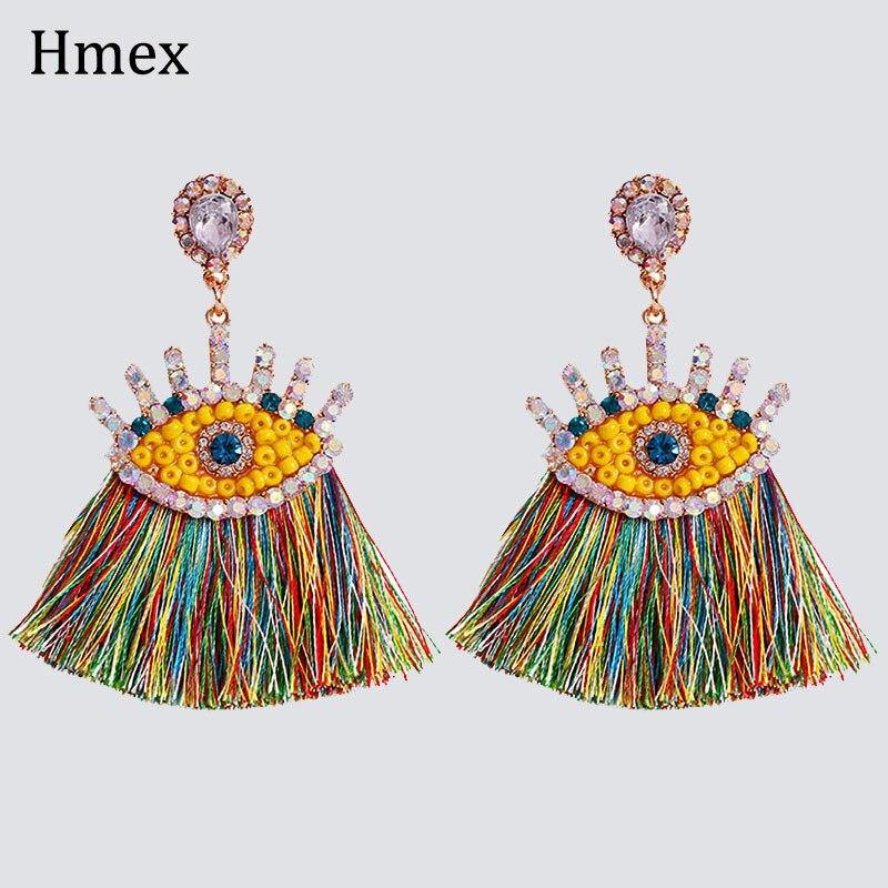 купить!  Серьги Charm Crystal Drop для женщин boho Многоцветный горный хрусталь ручной работы длинные серьги