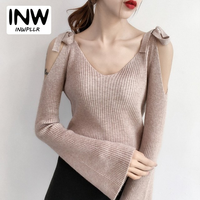 3b4139d4b9f41a Women Sweaters 2018 Autumn Open Shoulder Sweater Lady Casaul V-neck Long  Sleeve Autumn Pullover For Women Fashion Sueter Mujer