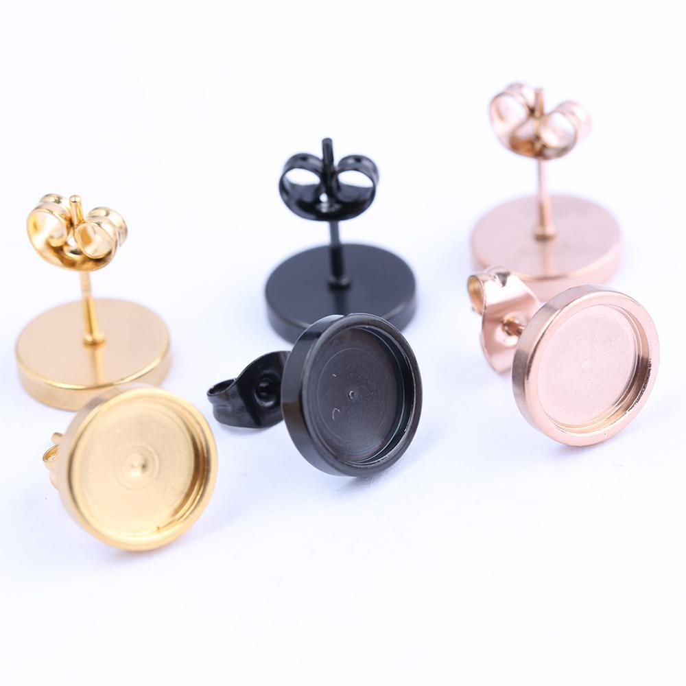 Reidgaller 10pcs Rose Gold Black Stainless Steel Post Stud Earring Base Settings 8mm 10mm Dia Blank Cabochon Bezel Findings