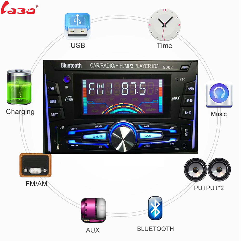 LaBo Bluetooth Autoradio Auto Stereo Radio FM Aux Eingang Empfänger SD USB ISO 9002 12 v In-dash 2 din Auto MP3 Multimedia Player