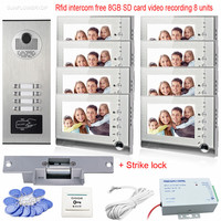 Rfid 8GB SD Cards Video Intercom With 8 Monitors Support Video Recording Take Photos 7 Color