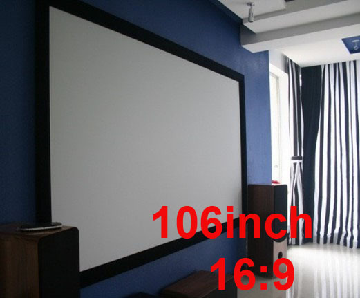 106inch 169 home cinema large size fixed frame hd projector screen for