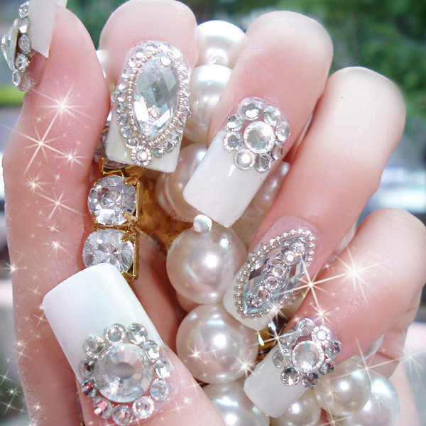 freeshipping 10pieces set handmade custom sparkling diamond white french bride art false nails. Black Bedroom Furniture Sets. Home Design Ideas