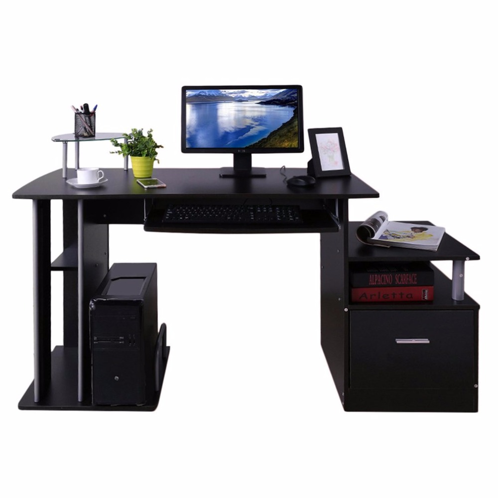 Computer PC Table Home Study Office Table Work Desk Workstation Corner Desk Furniture With Keyboard Tray And Drawer DX-202 multi purpose l shaped computer desk large work space area corner desk official business computer table for home living room