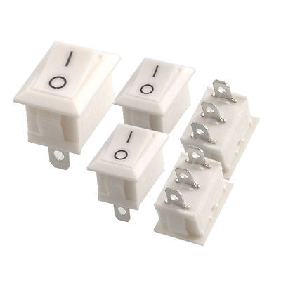 5 x AC 6A/250V 10A/125V 3 Pin SPDT White Button On/On Boat Rocker Switch 5pcs kcd1 perforate 21 x 15 mm 6 pin 2 positions boat rocker switch on off power switch 6a 250v 10a 125v ac new hot