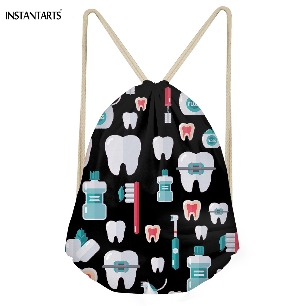 INSTANTARTS Large Black Drawstring Bags Woman Funny 3D Cartoon Dentist Printing Girls Backpacks Teeth Design Softback Sack Bags