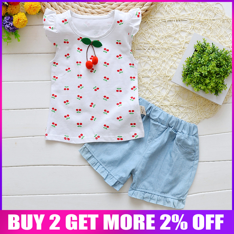 BibiCola Summer Baby Girls Clothing Sets New Fashion Girls Top+Shorts 2pcs Clothes Suit Infant Girls Clothing Summer Set
