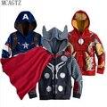 Envío de La Manera 2016 Iron man Batman etc niños que ropa Fleece con capucha niños de dibujos animados ropa de Los Niños