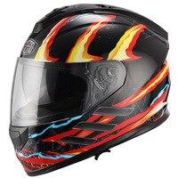Flip Up Motorcycle Helmet Vintage DOT Full Face Motorbike Helmets With Inner Sun Visor Double Lens