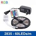 RGB LED Luz de Tira 5 M 300 LEDs 2835 SMD IR Remote Controller 12 V 2A Adaptador De Energia Flexível Fita de Luz LED Lâmpadas de Decoração Para Casa