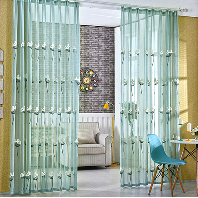 Pastoral Embroidered Dandelion Tulle Curtains Living Room Decoration Curtain Bedroom Kitchen Separation Translucidus 3d