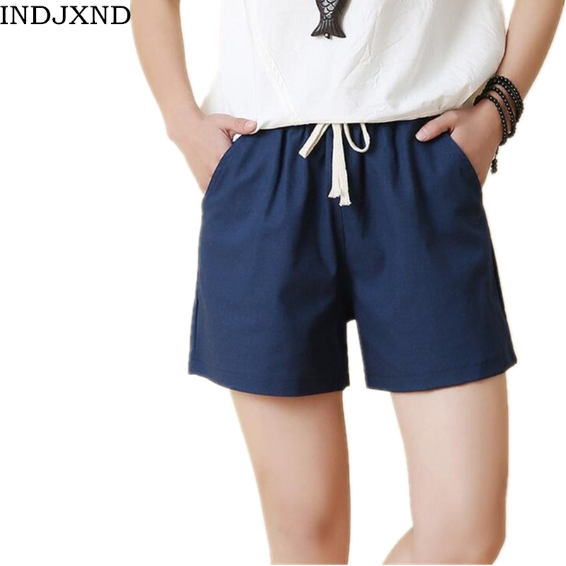 INDJXND Summer Casual Women's   Shorts   Drawstring Loose Wide Leg   Short   Women Linen Pocket Elastic-waisted   Shorts   Beach Multicolor