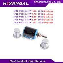 1PCS WXD3-12 1W 10K 4.7K 3.3K 2.2K 1K Series resistance ring multi-circle precision wire-wound potentiometer+1PCS Grey knob