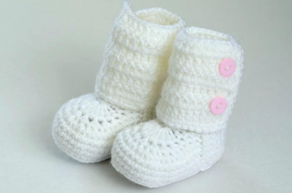 ④Envío libre, botas botines del bebé del ganchillo zapatos muchacha ...