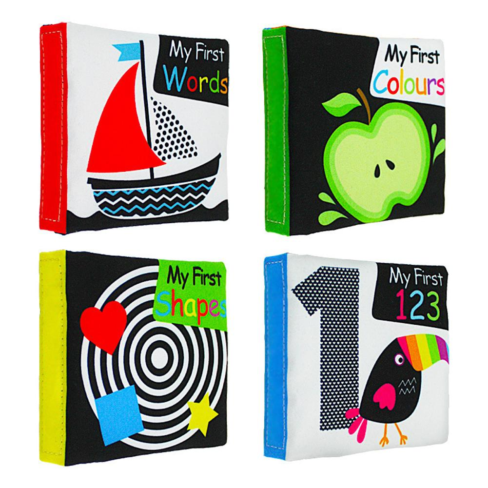 4 Pcs Cloth Book Toy Infant Baby Black White Enlightenment English Cloth Book Early Education Puzzle Baby Tear-resistant Palm