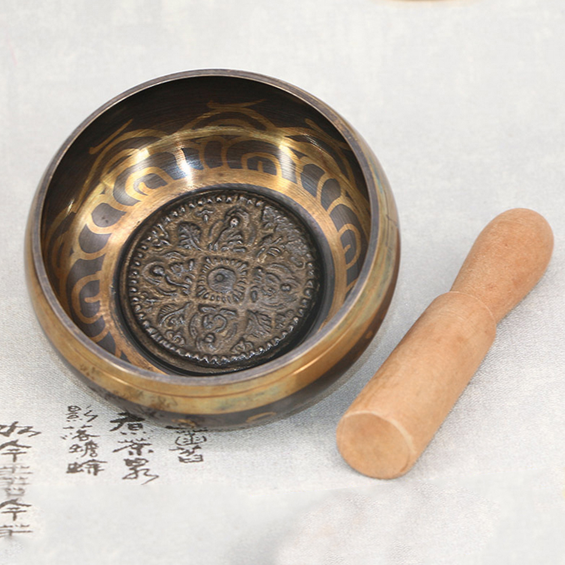 Tibetan Singing Bowl Tibetan Buddhist Brass Yoga Singing Bowl Meditation Wall Dishes Home Decoration