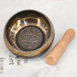 Tibetano tigela de canto budista tibetano latão yoga cantando tigela meditação pratos parede decoração para casa