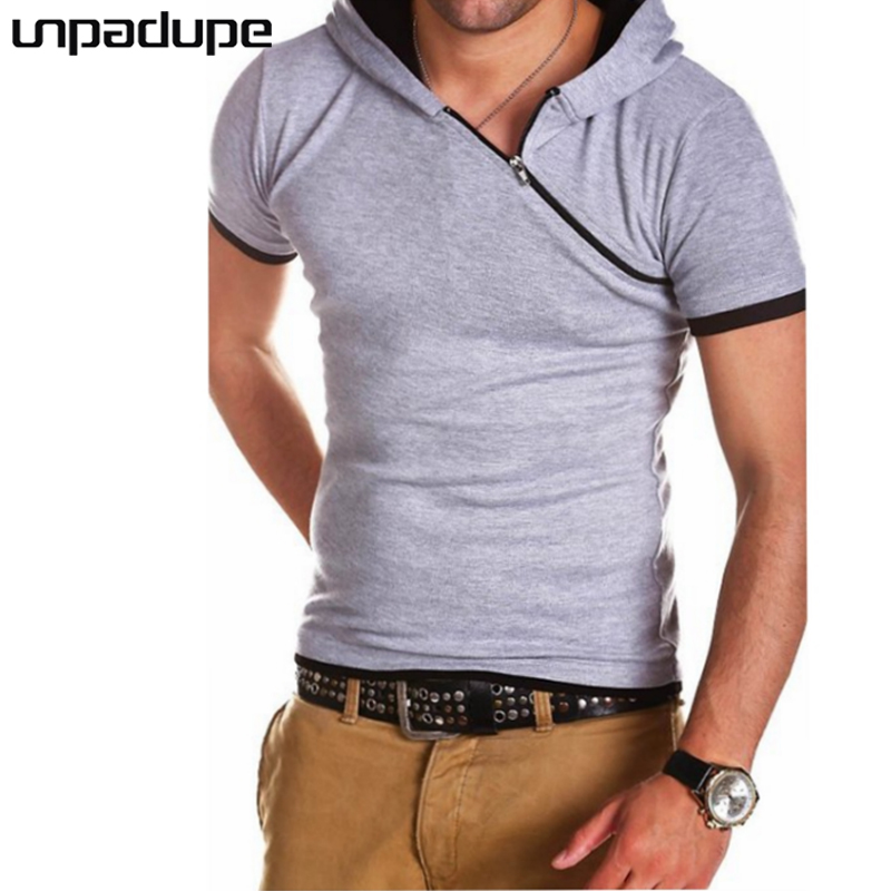 Unpadupe New Brand 2018 Male Slim Fit T Shirt Diagonal Zipper Hooded Mens Cotton Short Sleeve T-Shirts Men Summer Tee Casual ...