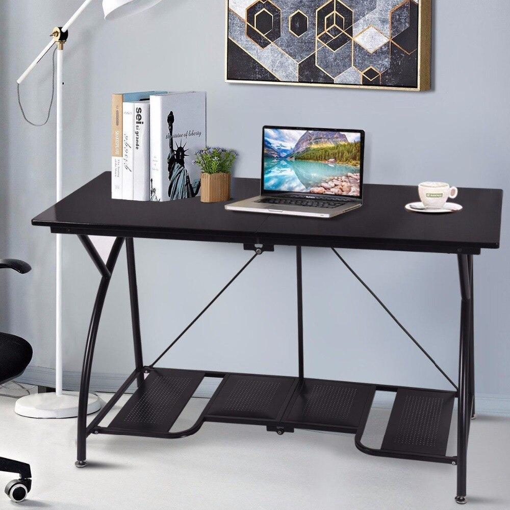 Goplus moderne pliant ordinateur bureau à domicile bureau étude PC Table d'écriture Portable Simple moderne meubles noir bureaux HW52227