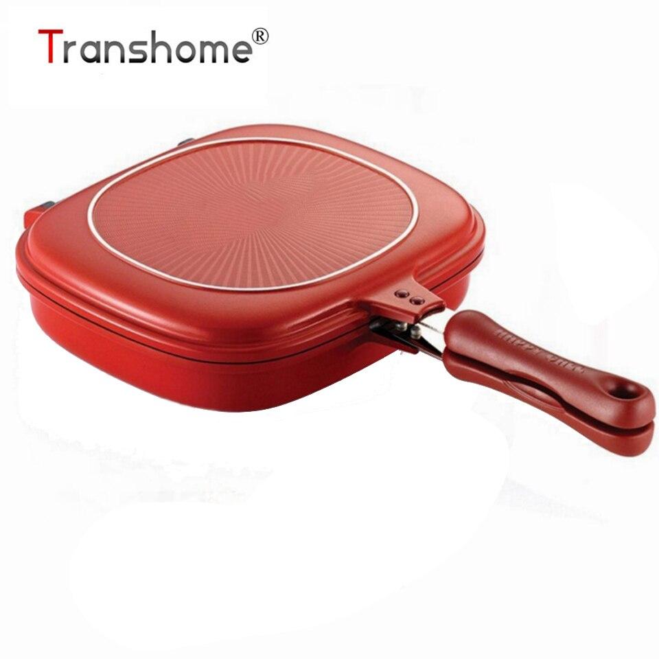 Transhome 28 cm Double Side Grill sartén utensilios doble cara de acero inoxidable carne Pan Fry Pan accesorios de cocina herramienta