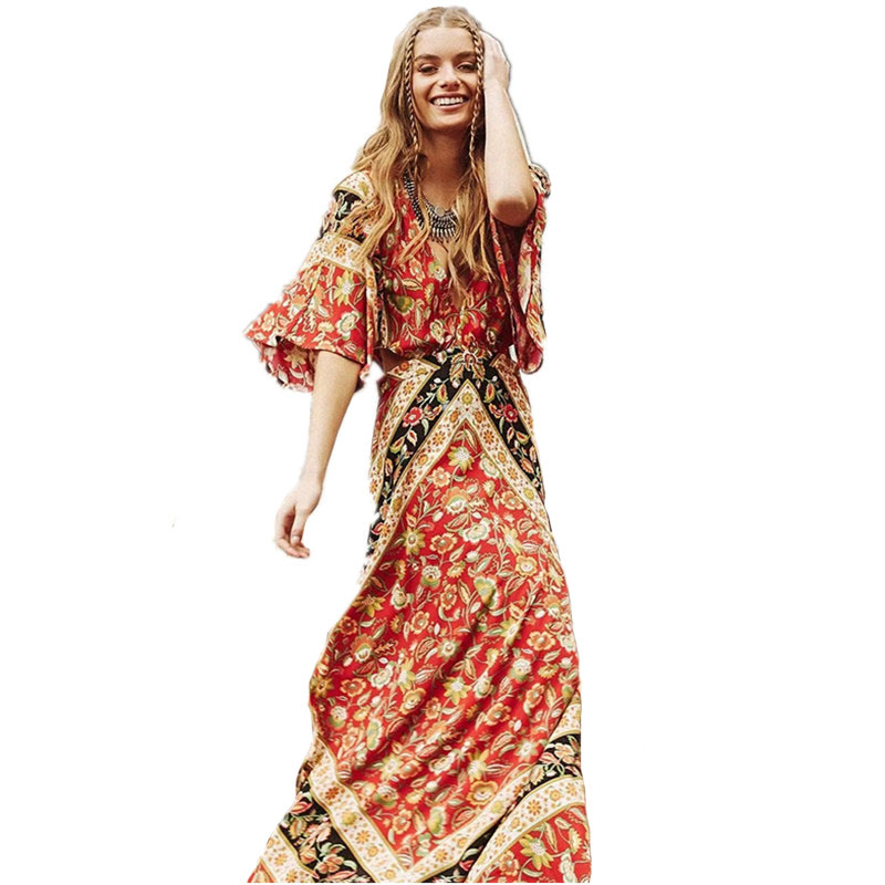 Cotton Ethnic Floral Print Beach Dresses Bodycon Dress 2017 Summer Sexy Backless Waist Hollow Short Sleeve Maxi Boho Chic Dress