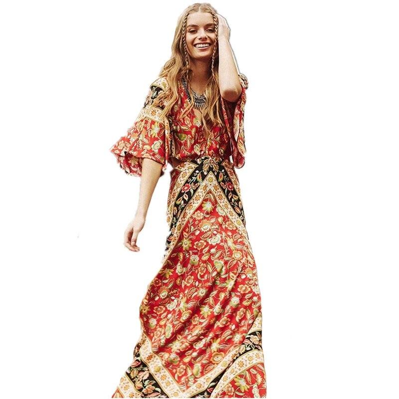 Cotton Ethnic Floral Print Beach Dresses Bodycon Dress 2017 Summer Sexy Backless Waist Hollow Short Sleeve Maxi Boho Chic Dress