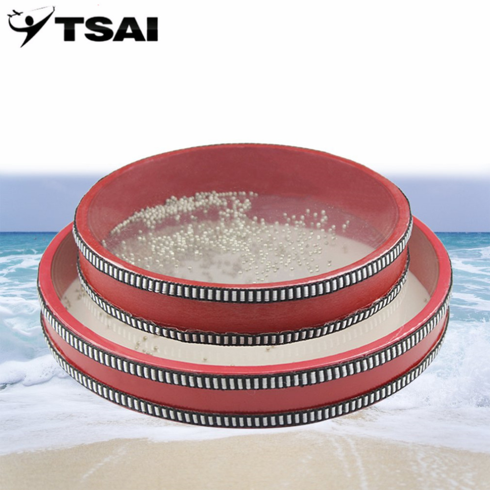 TSAI Tambourine Ocean Wave Bead Drum Sea Sound Musical Instrument Toys for Baby Kid Child Early Learning Tools 20/25cm for Gift