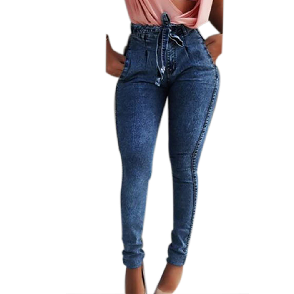Summer Solid Skinny Jeans Woman Casual Pencil High Waist Jeans Tassel Drawstring Slim Jean Femme Stretch Summer Solid Skinny Jeans Woman Casual Pencil High Waist Jeans Tassel Drawstring Slim Jean Femme Stretch Demin Ladies Jeans