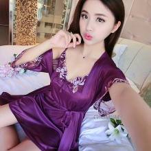 Satin Pajamas for Women 2018 Fashion Lace Sleepwear Female Sexy Elegant Pyjamas Silk HIgh Quality Pijamas