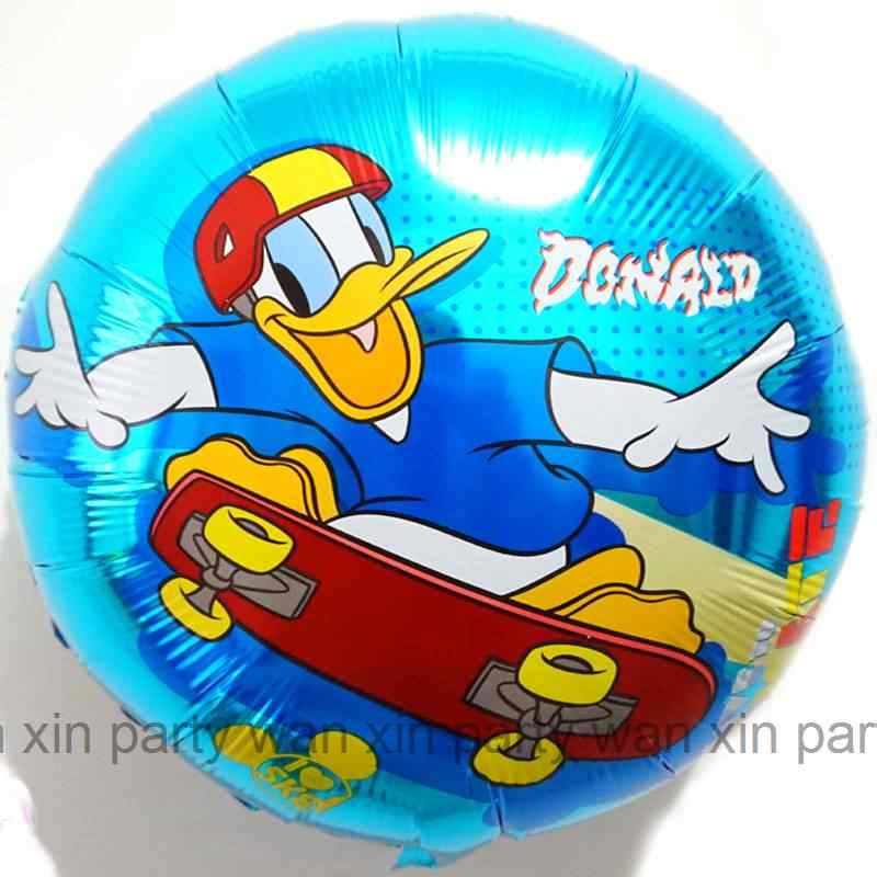 5pcs donald foil balloon 18inch round mickey and friends duck air balloon for mickey party balloon kid toys