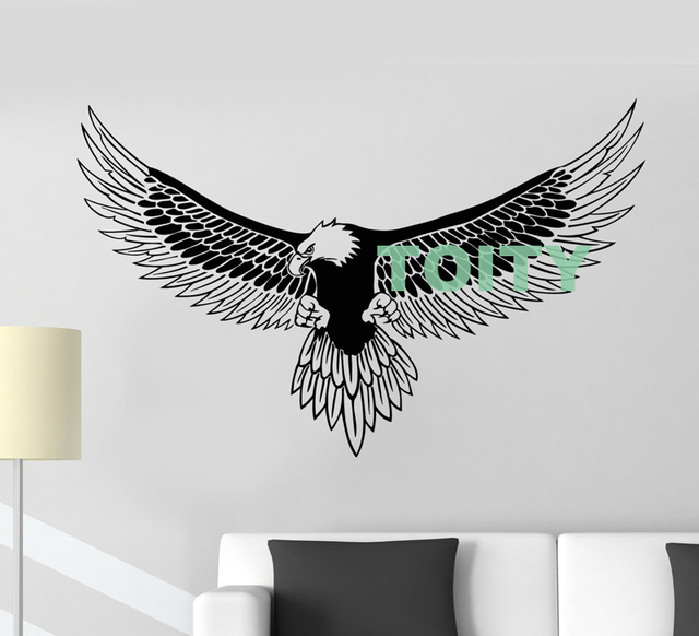 vinyl wall decal american bald eagle bird feather patriot symbol