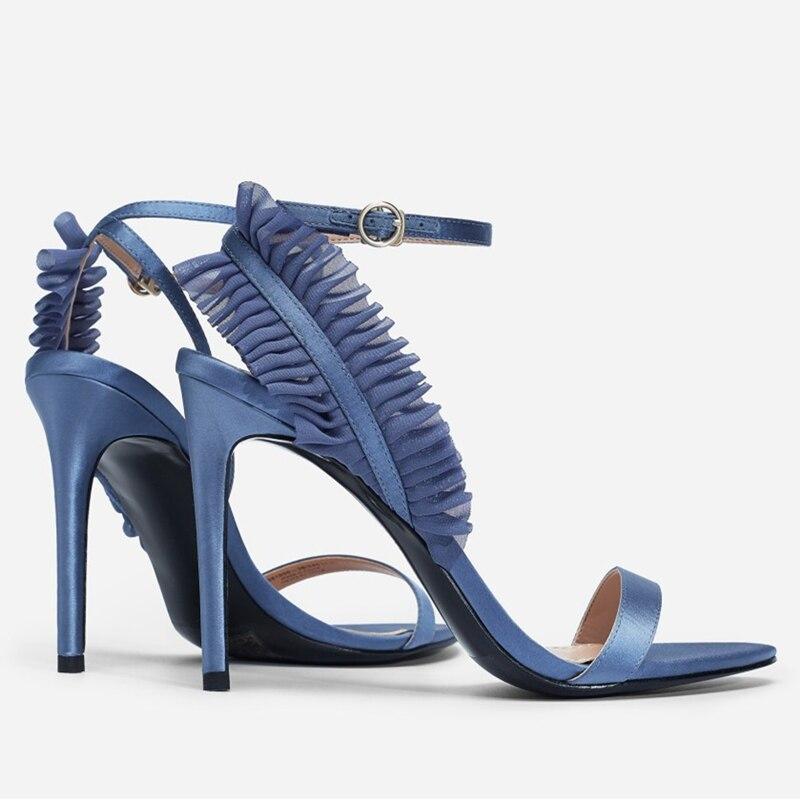 Zapatos Sandalias Valentín Alta 7 Azul Bombas Black Vestido De Verano blue 5cm 9 Negro Encaje Damas Gladiador Tacones black Correa Formal Heels Tobillo Mujeres San Seda Boda Heels 5cm Heels wIwxU0H