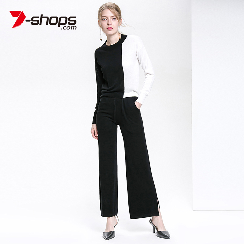 7-Shops AB0005 Merino Wool Women Suit Patchwork Color Pullover Long Sleeve Top Knit Sweater Wide Pants Female Two-Piece Spring cropped wide sleeve top