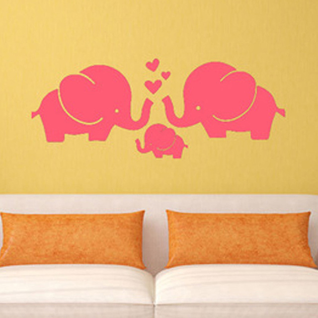 1 PC Cartoon Elephant Love Three of Family Wall Stickers Plane Wall ...