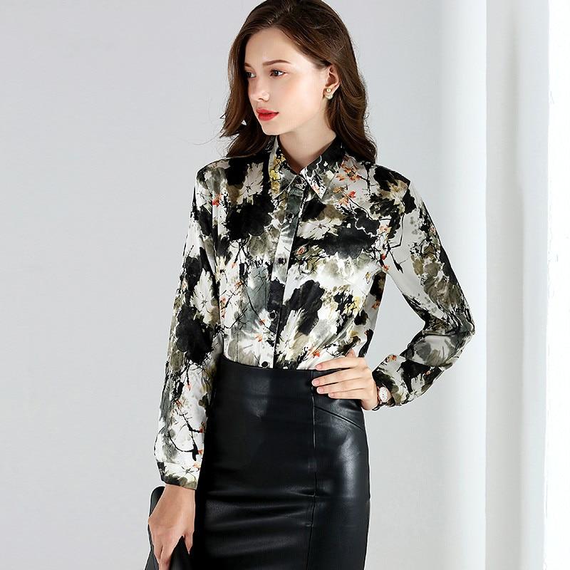 2019 Весенняя мода 100% шелковая блузка Офисная Женская рубашка рубашки с длинным рукавом Женские топы блузки размера плюс женская блуза YQ021 - 2