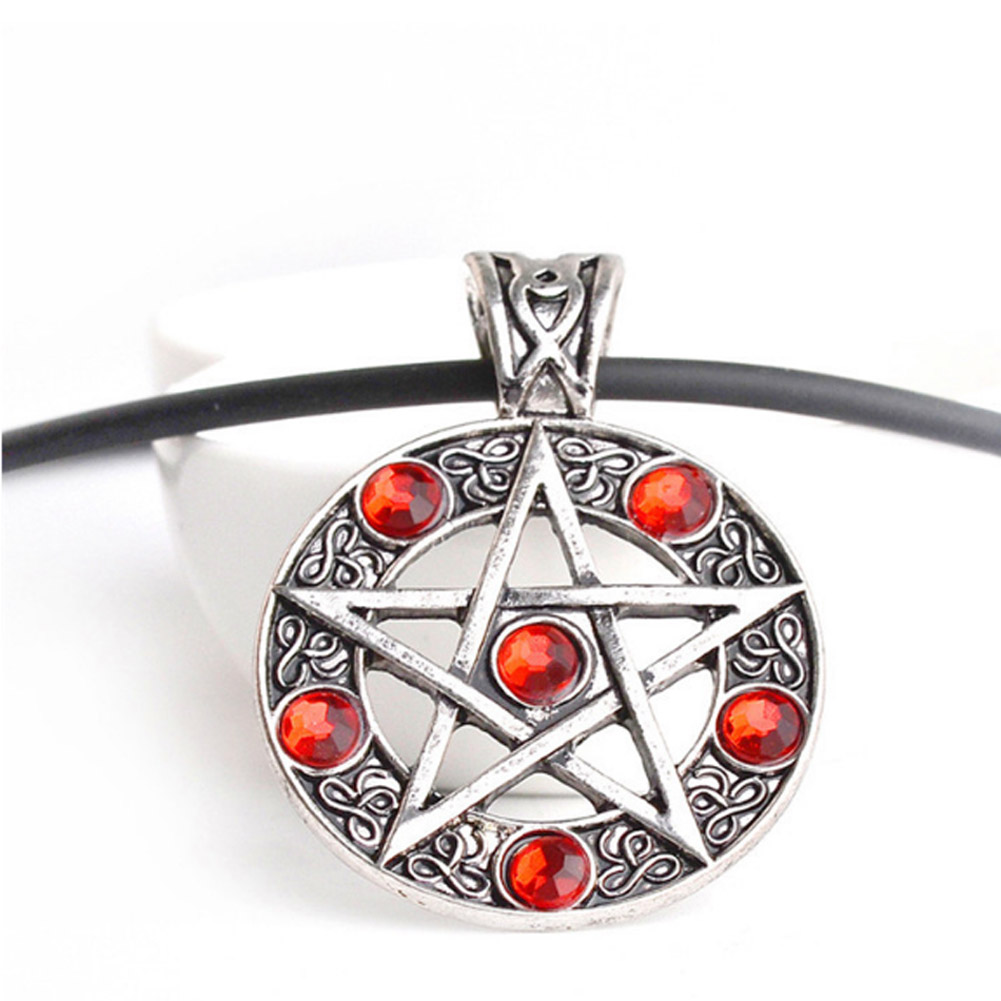 Charm Pentacle Star Pendant Necklace Fashion Necessaries Special Round Red Crystal Leather Chain Cord Stylish