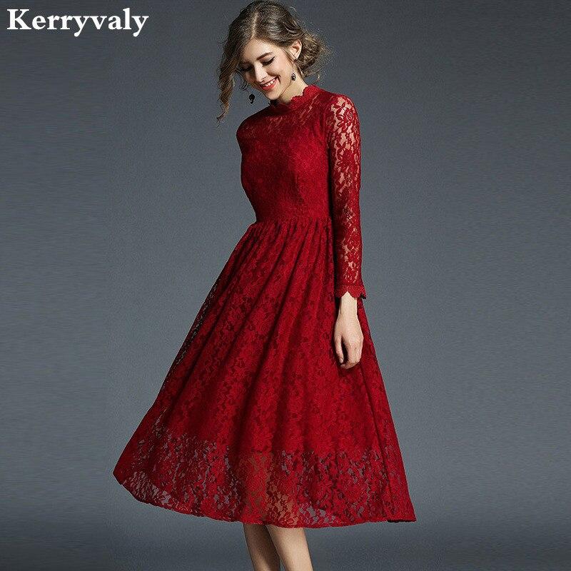 e42997dcb6 Año Nuevo resorte rojo De encaje vestido De Navidad vestido De velada  Longue 2019 traje Vintage De las mujeres hacer vestido Kerst Jurk Ropa  mujer K8108