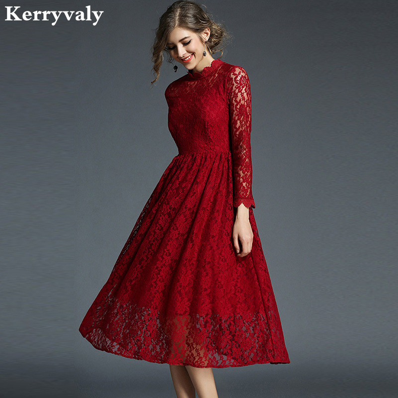 New Year Spring Red Lace Christmas Dress Robe De Soiree ...