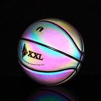 Luminous Street Rubber Basketball Ball Night Game Train PU Rubber Luminescence Glowing Rainbow Light Children Trainning