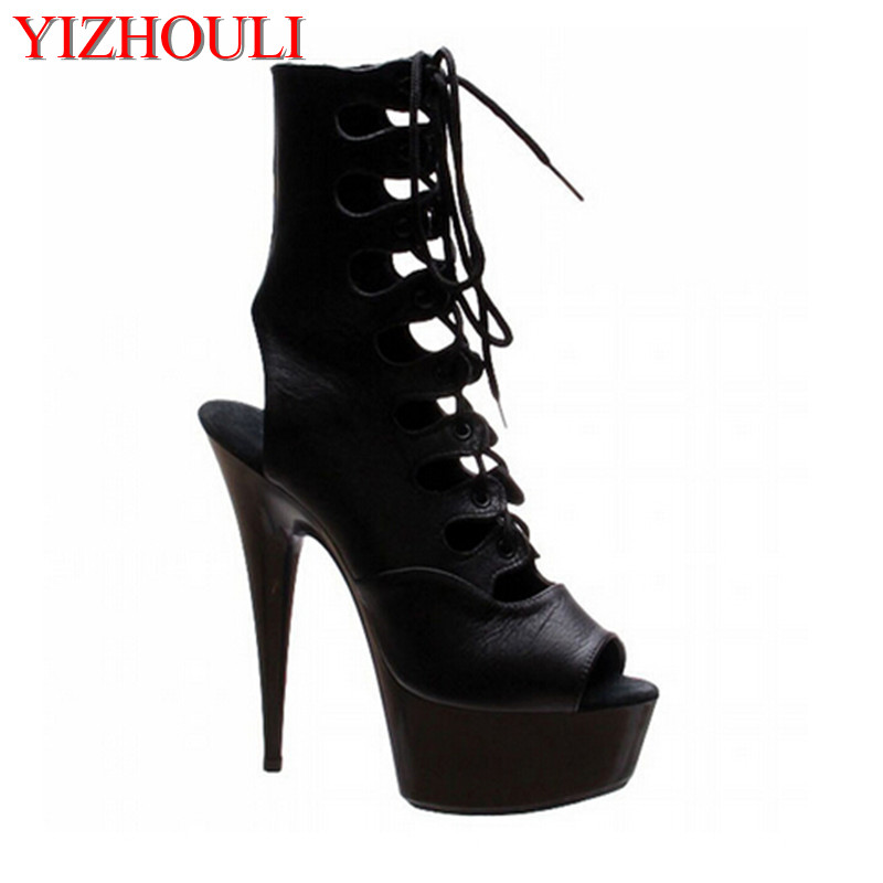 Postage 2018 Sexy Front Open Toe Strap Cool Boots Fashion 15cm Ultra High Thin Heels Boots 6 Inch Heel Classic Short BootsPostage 2018 Sexy Front Open Toe Strap Cool Boots Fashion 15cm Ultra High Thin Heels Boots 6 Inch Heel Classic Short Boots