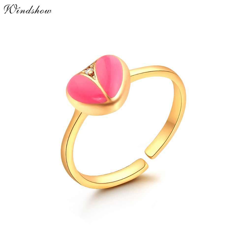 สีทองสีชมพูพีชหัวใจรักCZเพทายS Tud E Arringsแหวนจี้สร้อยคอเครื่องประดับขนาดเล็กชุดสำหรับเด็กสาวเด็กเด็ก